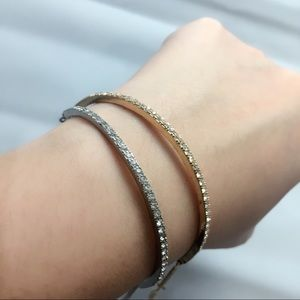 Jewelry - Gold & Silver Bracelets With Pave Crystal